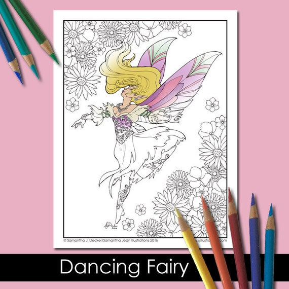 Fairy Coloring Page Adult Coloring Pages Fantasy Printable Etsy