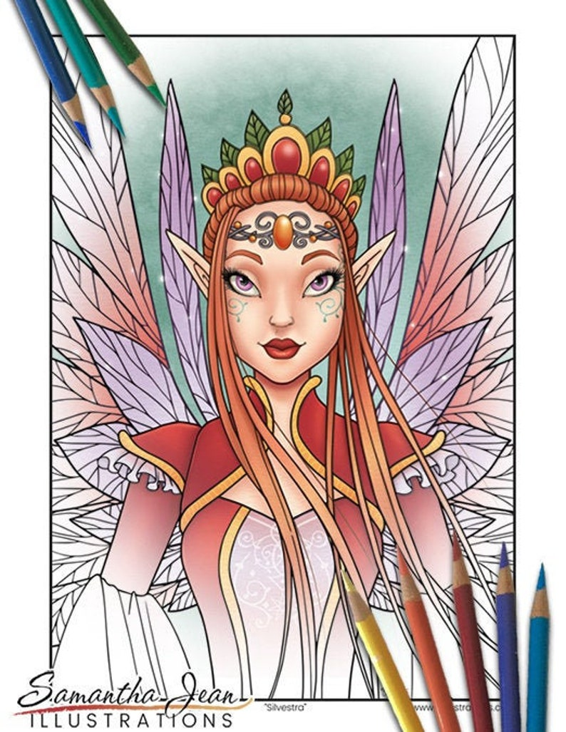 Printable Fairy Coloring Page Adult Coloring Pages Fantasy Coloring Page Coloring Pages To Print Silvestra By Samantha Jean