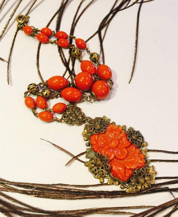 Beautiful Art Nouveau Art Deco Molded Orange Cora… - image 1