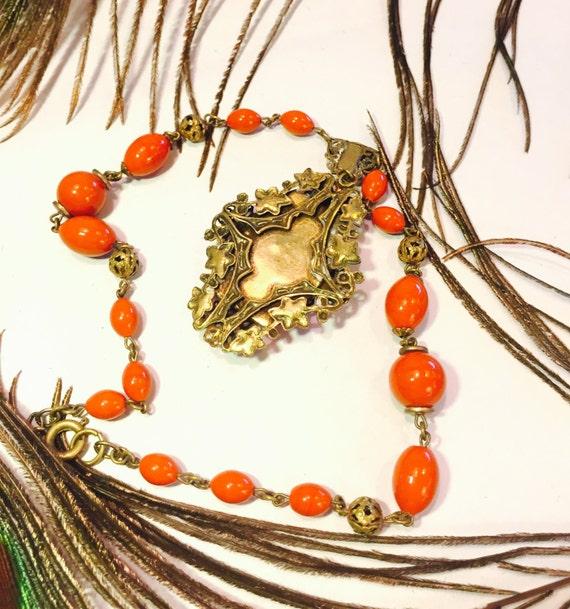 Beautiful Art Nouveau Art Deco Molded Orange Cora… - image 4