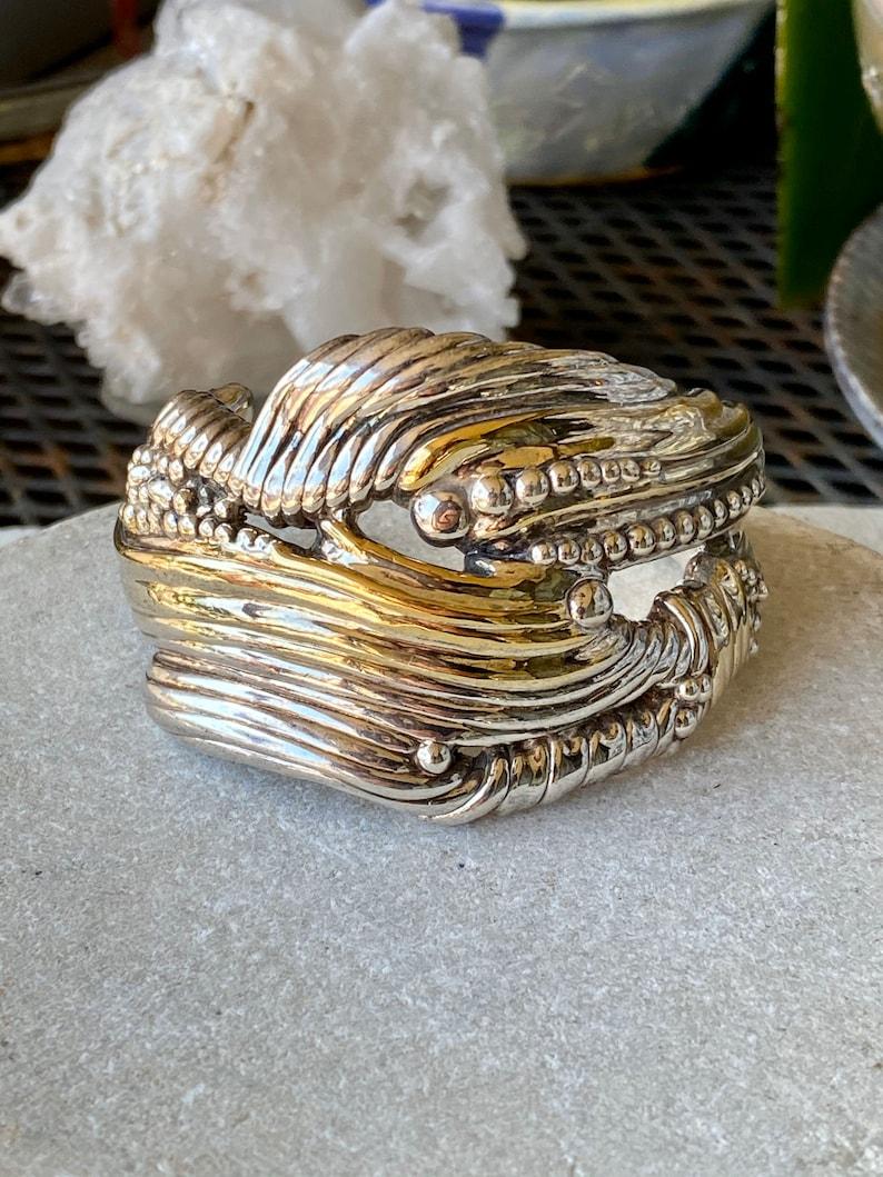 Artisan Modernist Free Form Sterling Silver 14kt Gold Native American Zuni Artist Joseph Lambert Vintage Cuff  bracelet