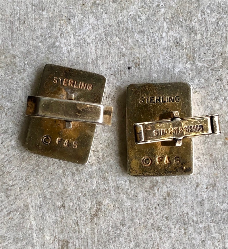 Very Cool Mid Century Joker Playing Card Sterling Silver Gold Gilt Vintage cufflinks