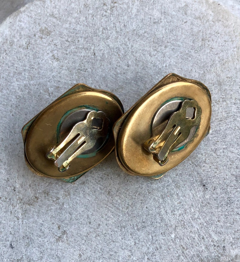 Beautiful Art Deco Egyptian Revival Scarab Carved Carnelian Art Glass Brass Vintage Clip Earrings Art Deco Earrings