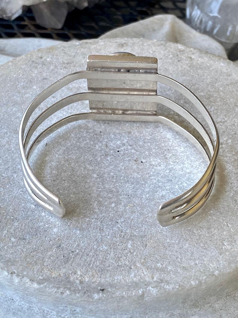Mexican Sterling Silver Dragons Breath Opal Art Glass Vintage Cuff Bracelet