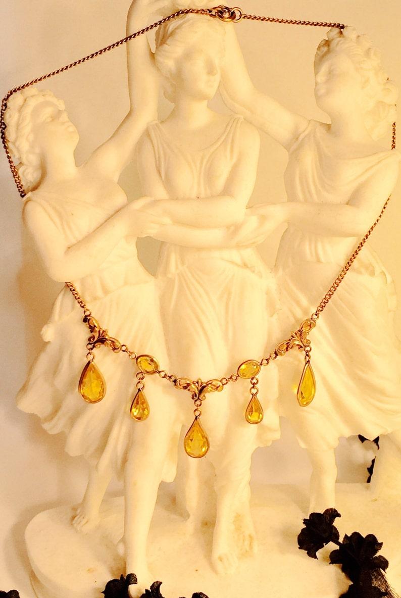 Beautiful Edwardian Art Nouveu Citrine Gold Vintage Festoon Antique Necklace