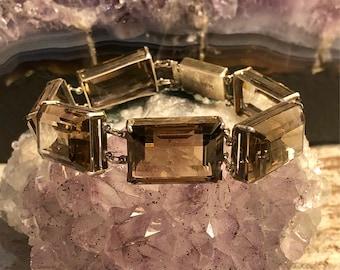 1920s Art Deco Sterling Silver Faceted Smokey Quartz Vintage Bracelet Art Deco Jewelry