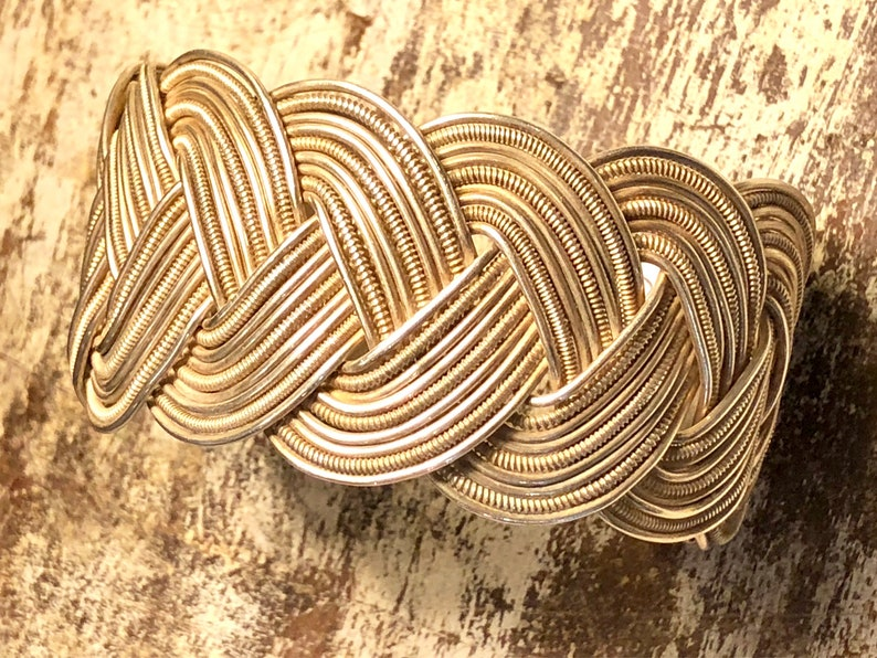 Woven Textured Sterling Silver Vintage Cuff Bracelet