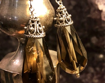 Sterling Silver Faceted Smokey Quartz Vintage Earrings