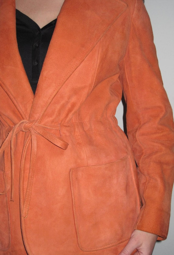 Classic Vintage Orange Suede Leather Jacket