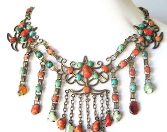 Schöne Art-Deco-Chinesische Koralle Türkis Quarz Jade Aventurin Vintage Antik Swag Kollier Fett
