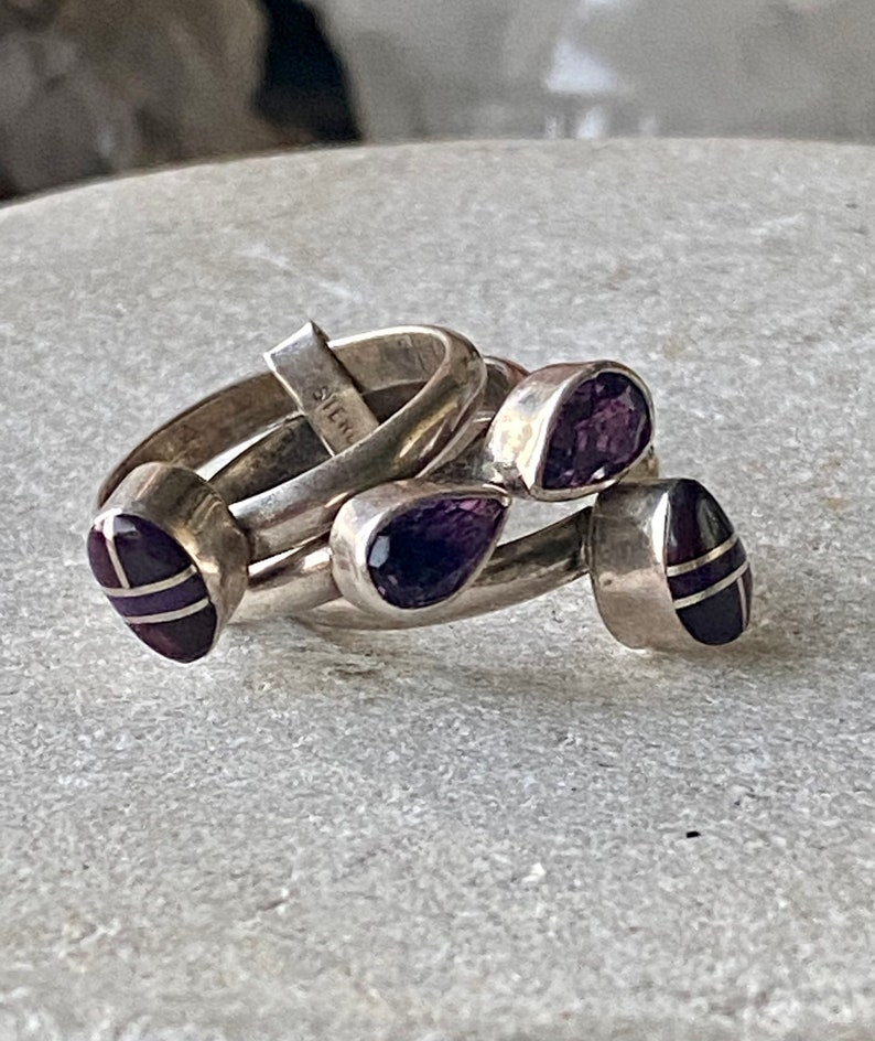 Beautiful Sterling Silver Purple Sugilite Faceted Amethyst Vintage Puzzle Ring