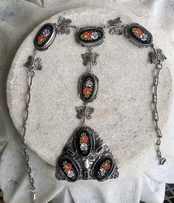 Beautiful Italian Micro Mosaic Stone Roses Flower