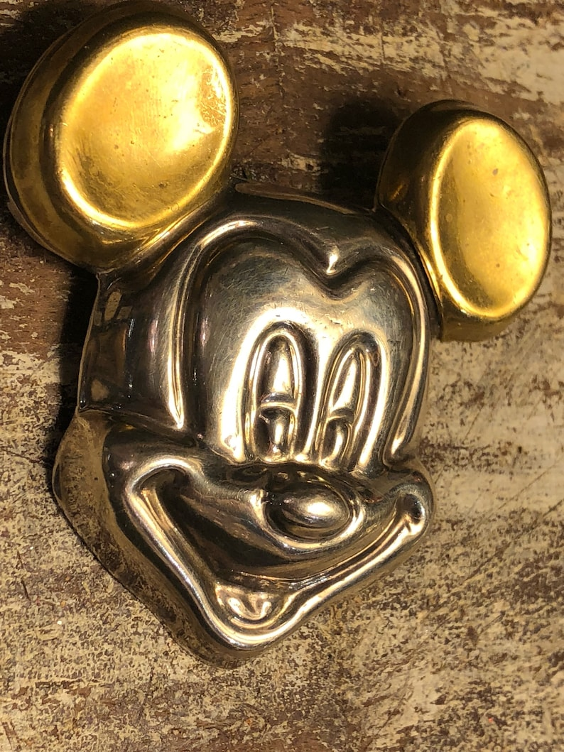Very Cool Large Mickey Mouse Sterling Silver Brass Vintage Brooch Necklace Pendant