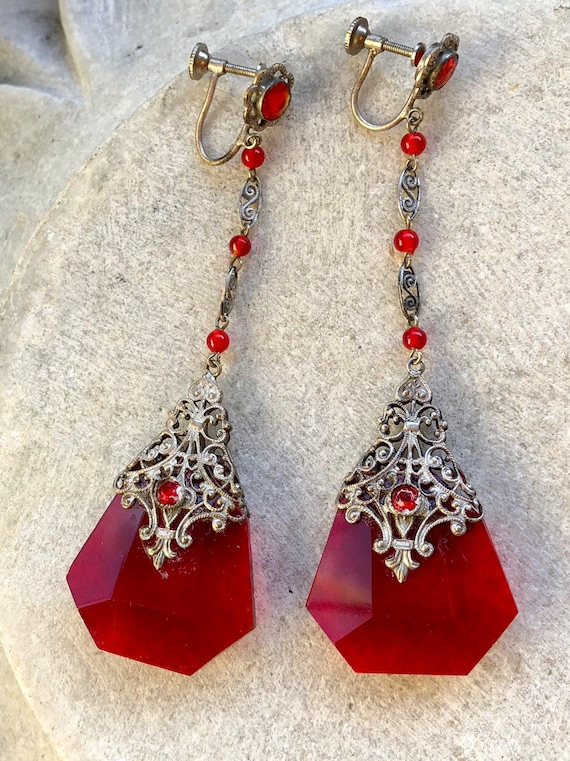 Beautiful Art nouveau Art Deco Red Czech Crystal S