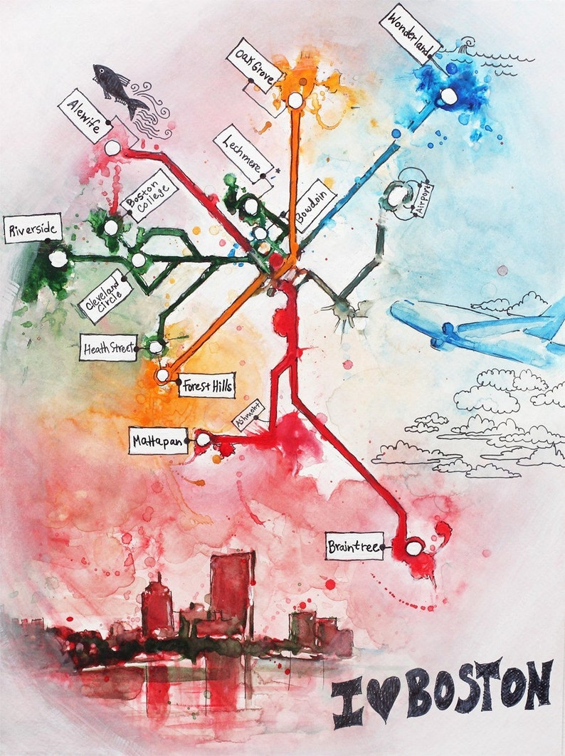 Alewife Subway Map.I Love Boston Boston Subway Map Painting The T 8 5 X 11
