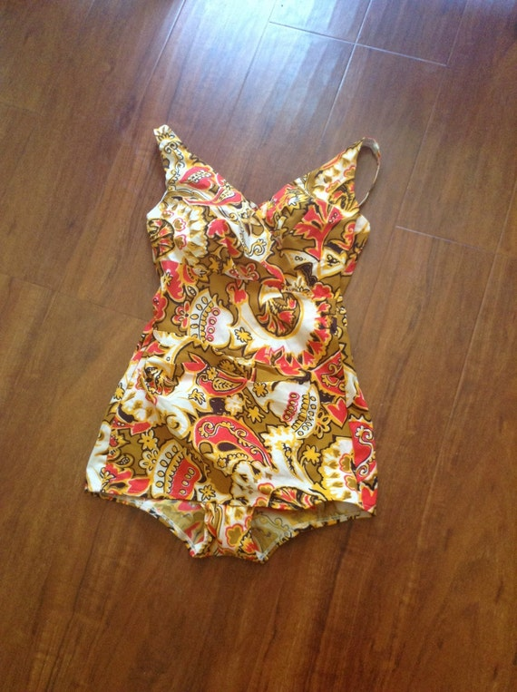 Vintage 50s Swimsuit/ 1950s Swimsuit/ Gold Red Bla