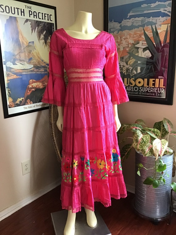 Vintage 1960s 60s Mexican Wedding Party Dress / Pi