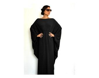 Caftan Dress, Women Clothing, Oversized Dress, Black Bridesmaid Dress, Long Sleeve Maxi Dress