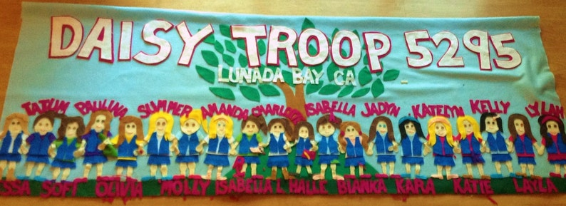 troop banner with personalized troop girls- scouts- parade