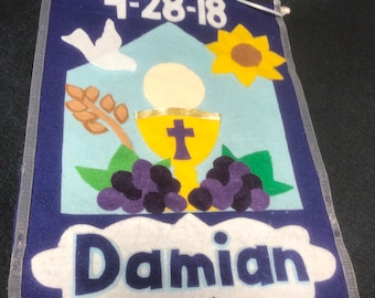 First Communion Pew Banner- personalized-the Damian