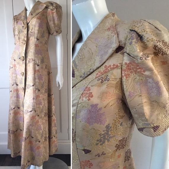Vintage 1930s pale gold chinese silk embroidered h