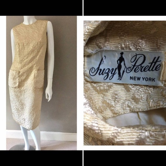Vintage 1960s Gold Brocade Suzy Perette New York s