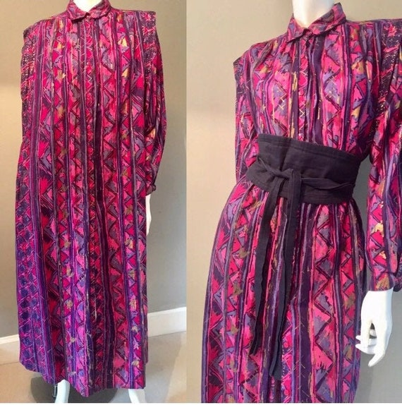 Adini vintage 1970s 80s Pink  indian block print c