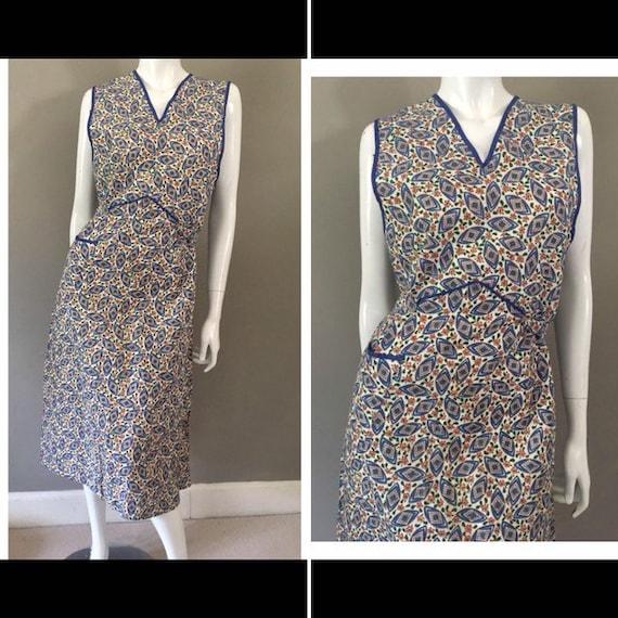 Vintage 1960s floral cotton belted tabard sheath d