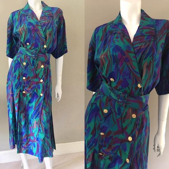 Albert Nipon Vintage 1980s Silk Abstract Print But