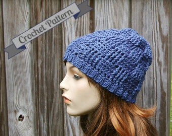 Crochet Pattern Beanie Hat in Basketweave stitch Instant Download