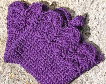 Boot Cuffs Plum Purple Boot Toppers Boot Socks crochet