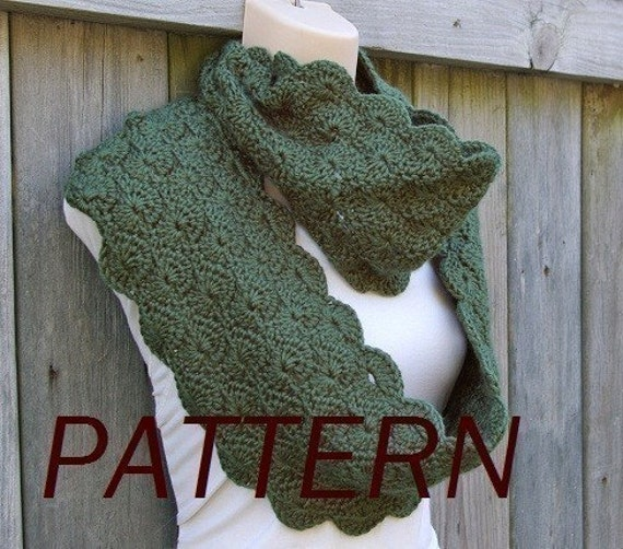 Crochet Pattern Infinity Scarf In Scalloped Pattern Pdf Etsy