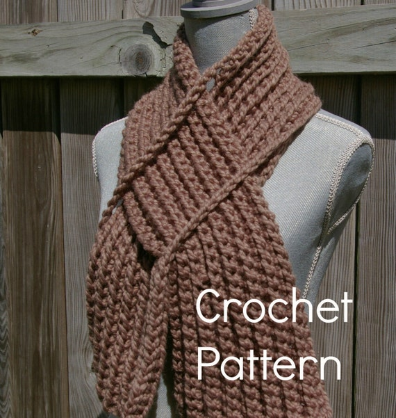 Crochet Pattern Keyhole Scarf Instant Download Etsy