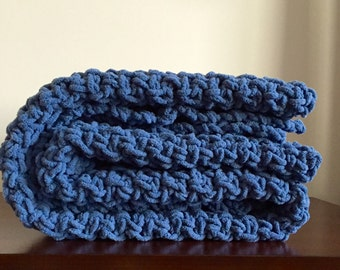 Chunky Crochet Blanket in Country Blue