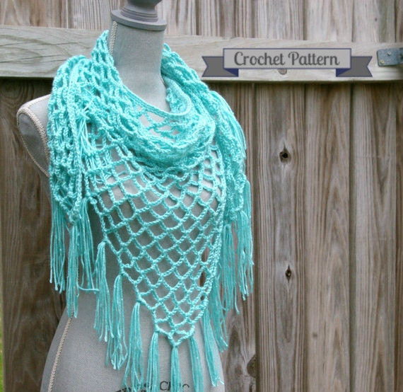 teal Triangle scarf shawl vintage lace
