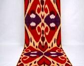Red cotton ikat fabric, ikat fabric by the yard, ikat fabrics on sale hand woven fabrics, organic ikat fabrics Uzbek cotton ikat fabric