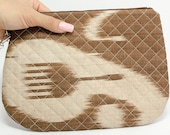 Quilted Ikat clutch, purse, brown ikat, brown purse, ikat bag, ikat clutch, ikat bag, ikat purse, silk purse, ikat fabric, evening clutch,