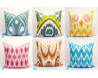 Uzbekistan Ikat Pillow Cover Cushion Yellow Pink Blue Green Handmade Decorative top ikats Throw Pillow design home interior Wedding gift