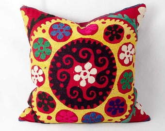 Vintage suzani pillow cover, handmade silk embroidery, Antique pillow, bohemian