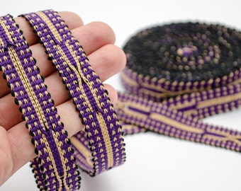 6 yards long hand woven cotton band, ribbon, lace, violet cream from Samarkand