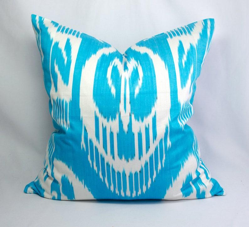 Brilliant Blue Silk Ikat Pillow Cover Blue Decorative Pillow Blue Ikat Throw Pillow Blue Ikat Couch Pillow Blue Couch Pillow Abrband Adras Ikat Ibusinesslaw Wood Chair Design Ideas Ibusinesslaworg