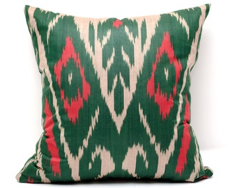 15x15 green red ikat pillow cover, green pillows, green ikats, green red, decorative pillow, throw pillow, accent pillow