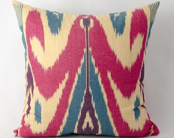 15x15, ikat pillow cover, red ikat, red pillow, red cream pillow, bohemian decor
