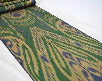 green ikat fabric, ikat fabric by the yard, uzbek ikat,  uzbekistan textiles, table runner, upholstery ikat