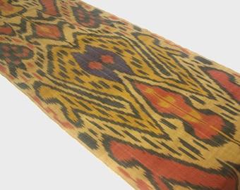 golden ikat fabric, yellow ikat fabric, ikat fabric by the yard, uzbek ikat