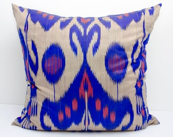 20x20 blue beige coral ikat pillow cover cushion case, blue, beige, coral, ikats, blue pillows, blue ikats
