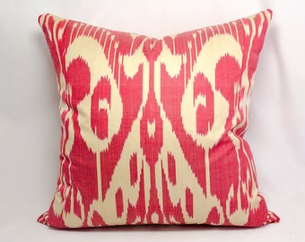 Red Cream ikat pillow cover, Red Ikat Decorative Pillow, Red Ikat Throw Pillow Red Ikat Couch Pillow, Red Pillow Cushion, Red sofa cushion