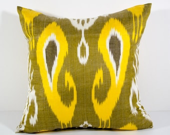 SALE ITEM with small stain 15x15 ikat pillow cover, yellow olive white pillow, cushion, pillowcase, cushion cover, ikat, olive pillows