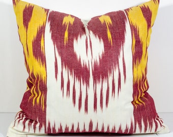 15x15 ikat pillow cover, cushion, pillow case, cushion cover pillowcase, red, yellow, sofa pillow, decorative pillow, yellow red pillows