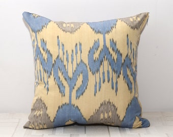 16x16, 15x15, blue brown ikat pillow cover